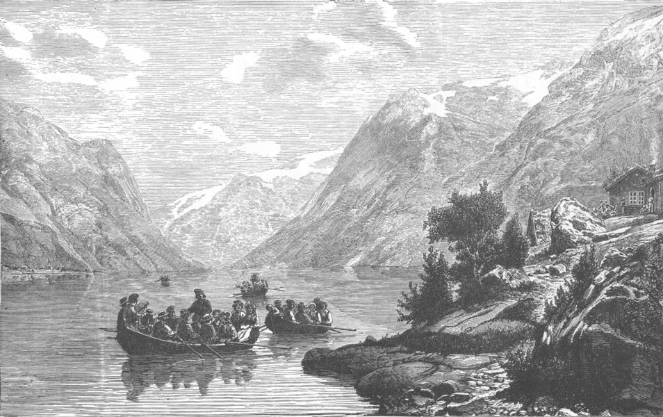 Associate Product NORWAY. The Return from the Wedding, Hardangerfjord 1890 old antique print
