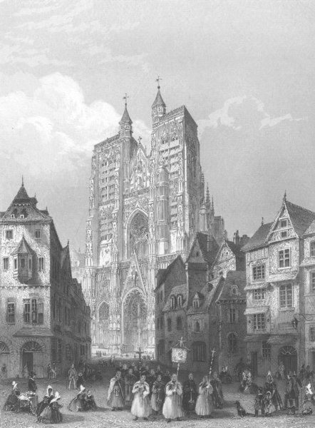Associate Product FRANCE. Abbeville Cathedral c1856 old antique vintage print picture