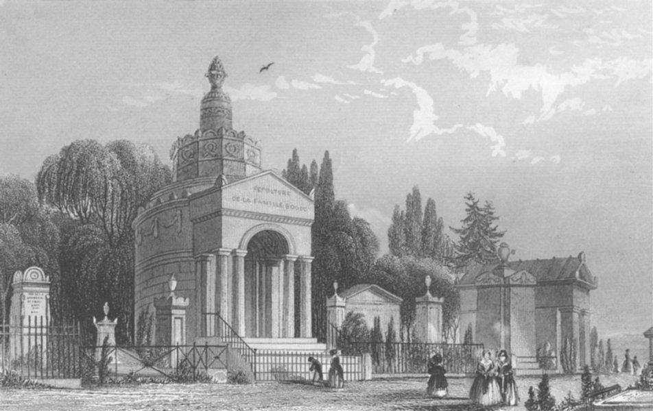 Associate Product PARIS. Monuments in Pere la Chaise c1856 old antique vintage print picture