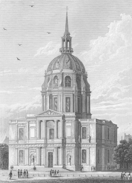 Associate Product PARIS. Chapelle des Invalides(East Front) c1856 old antique print picture