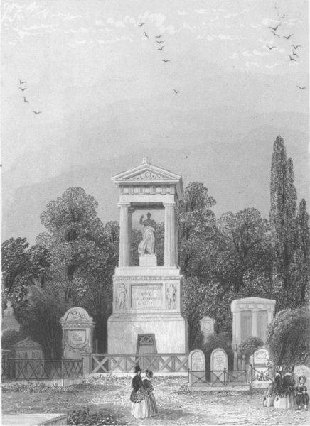Associate Product PARIS. Monument du General Foy. Pere la Chaise c1856 old antique print picture