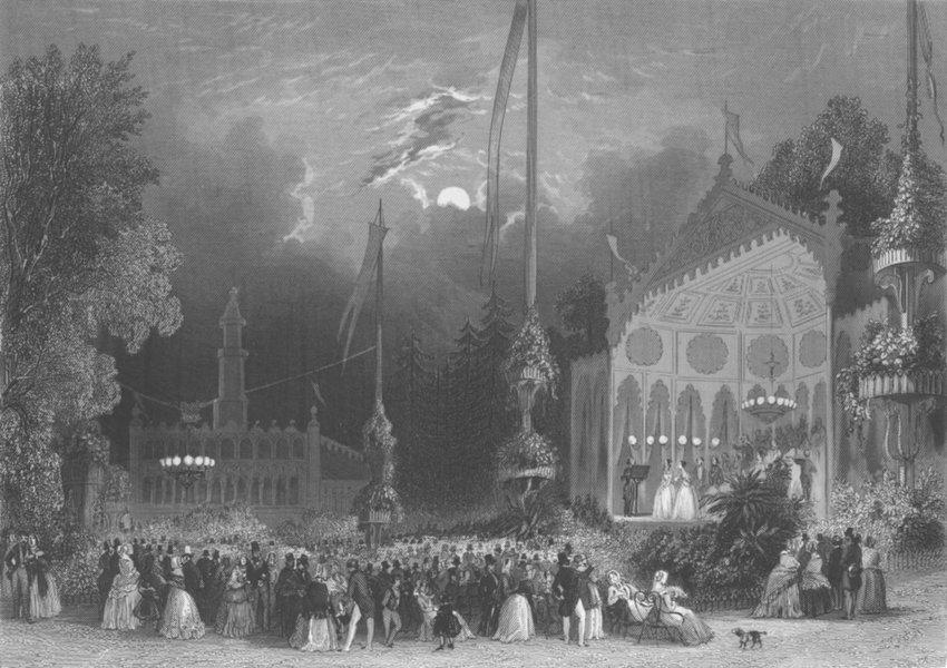 FRANCE. Chateau des Fleurs, Champs Elysees c1856 old antique print picture