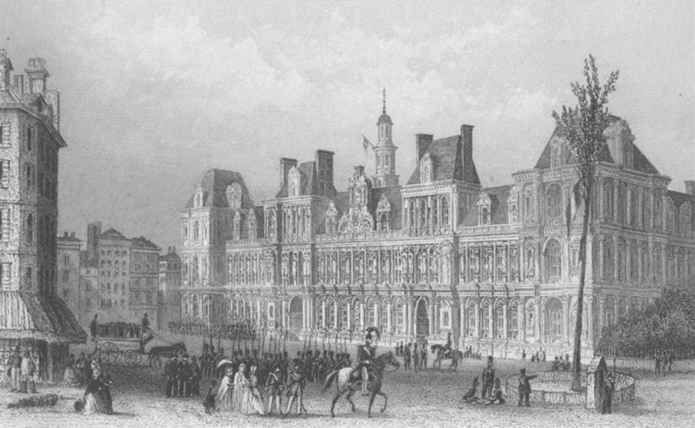 Associate Product BUILDINGS. The Hotel de Ville c1856 old antique vintage print picture