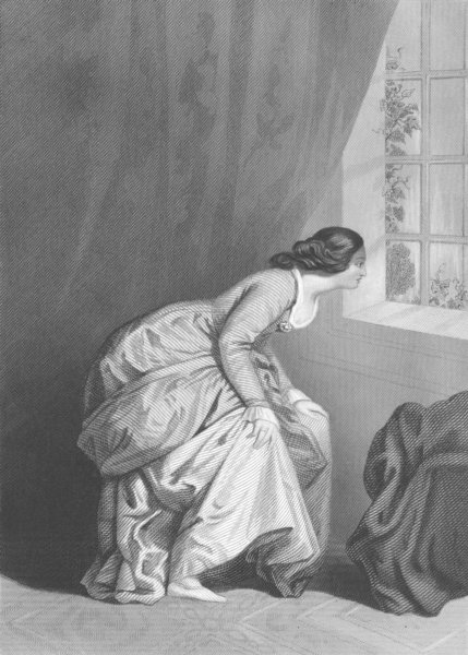 Associate Product PRETTY LADIES. watching his departure c1856 old antique vintage print picture
