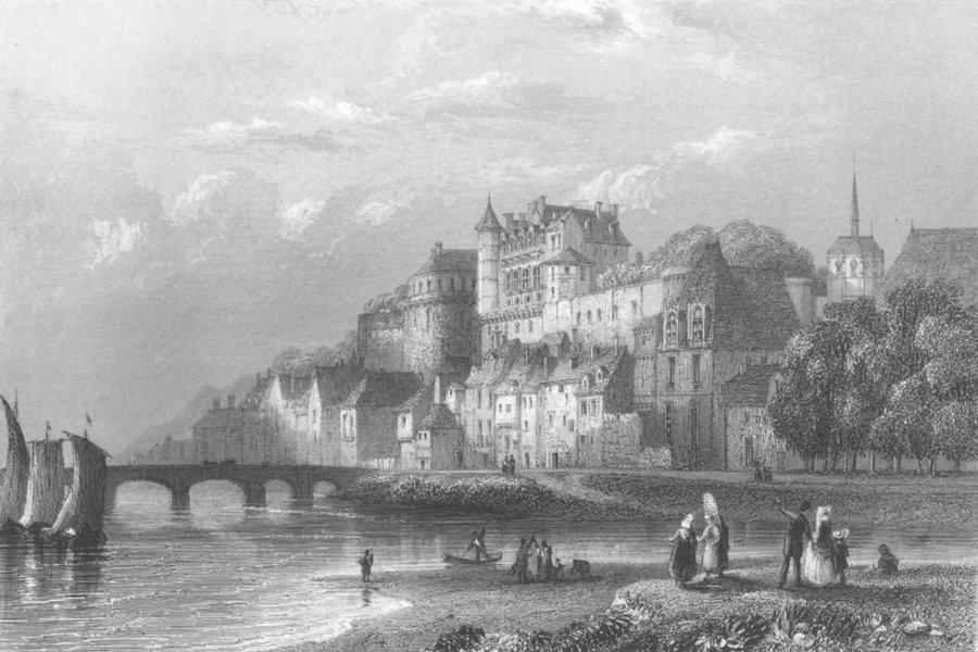 CASTLES. Castle of Ambosie. prison Ab del Kader c1856 old antique print