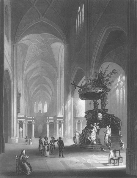 Associate Product BELGIUM. Cathedral of St Bavon(Ghent) c1856 old antique vintage print picture