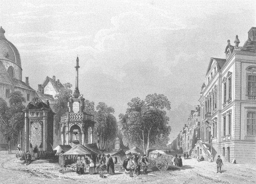 BELGIUM. Town hall & market, Liège c1856 old antique vintage print picture
