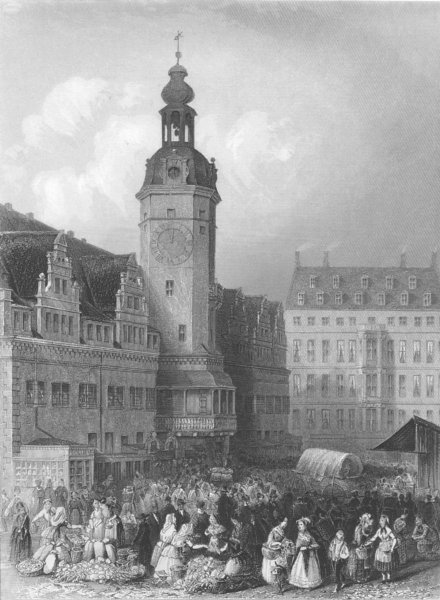 Associate Product GERMANY. Town hall & market, Leipsig c1856 old antique vintage print picture