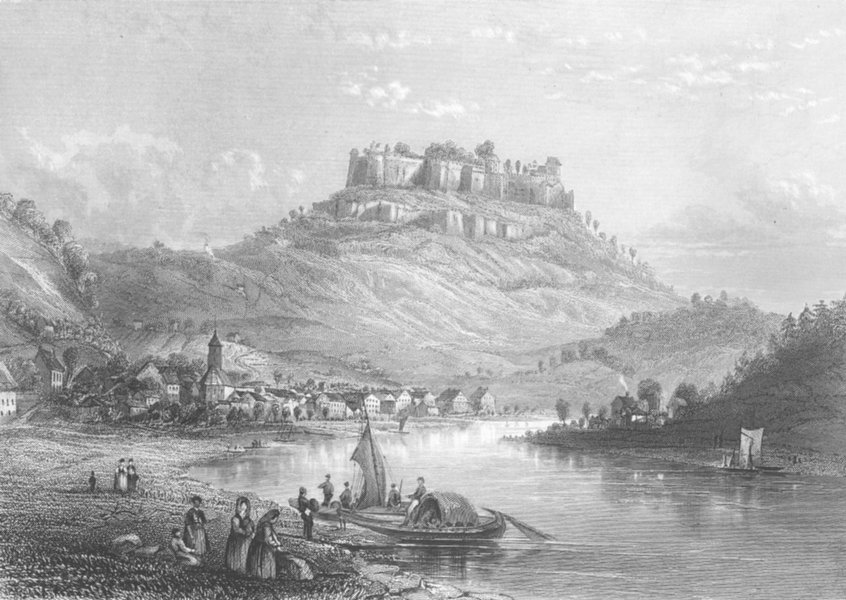 Associate Product GERMANY. Ft of Konigstein, Elbe c1856 old antique vintage print picture