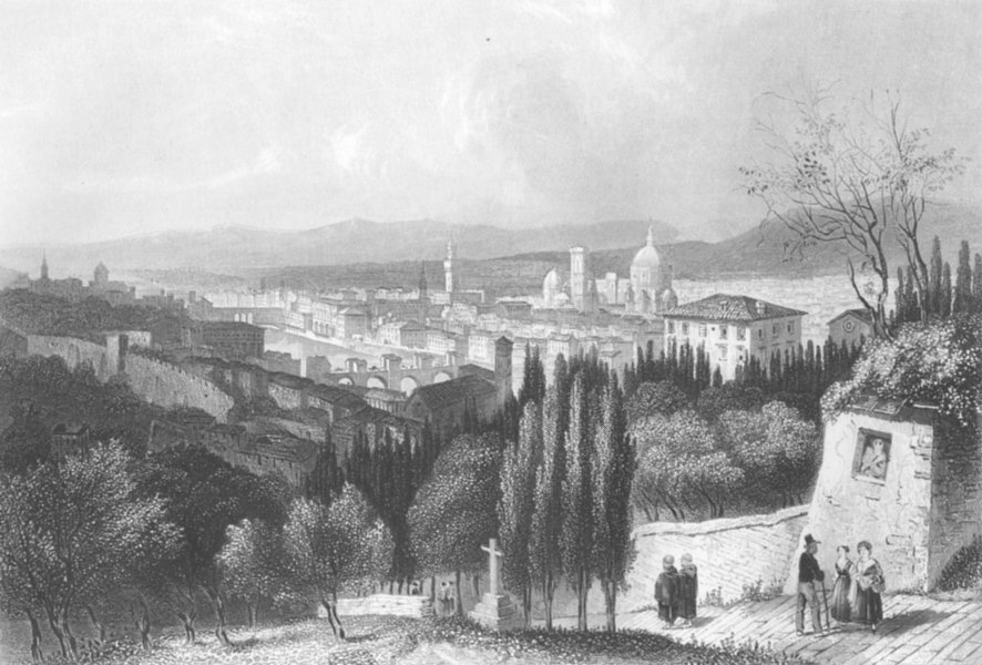 Associate Product ITALY. Florence c1856 old antique vintage print picture