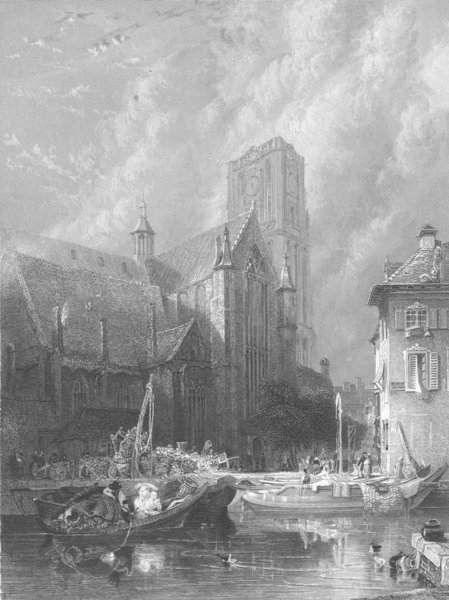 Associate Product CANADA. St Lawrence Cathedral, Rotterdam 1836 old antique print picture