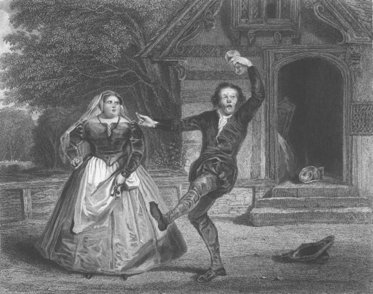 Associate Product SHAKESPEARE. Chris Sly, hostess. Taming of shrew 1836 old antique print