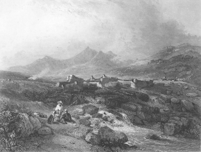 Associate Product WALES. Pen-y-Gwryd, with Snowdon, Caernarvonshire 1836 old antique print
