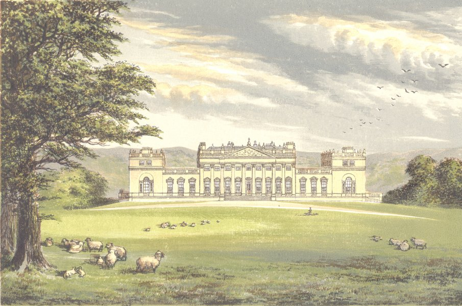 Associate Product HAREWOOD HOUSE, Wetherby, Yorkshire (Earl of Harewood) 1890 old antique print