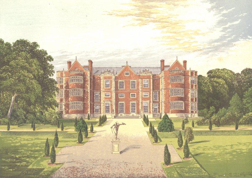 Associate Product BURTON-AGNES HALL, Burlington, Yorkshire (Boynton, Baronet) 1890 old print
