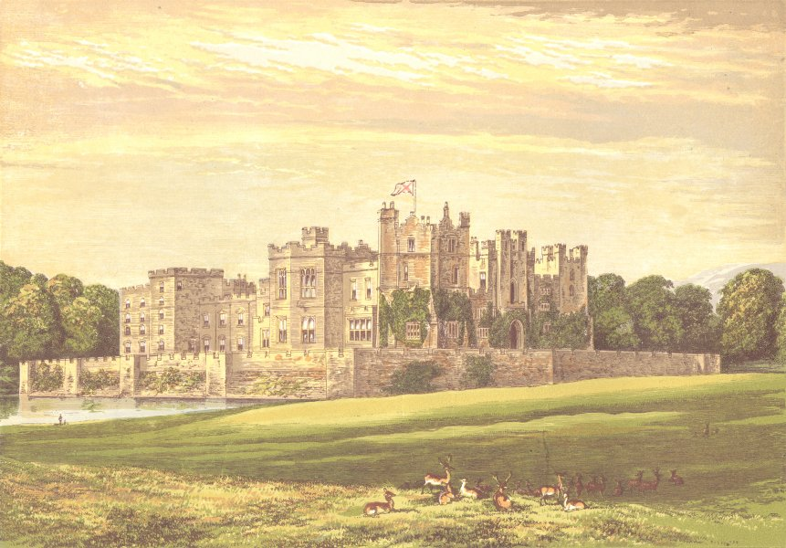 RABY CASTLE, Staindrop, Durham (Duke of Cleveland) 1890 old antique print