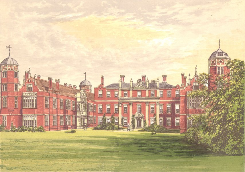 Associate Product COBHAM HALL, Gravesend, Kent (Earl of Darnley) 1890 old antique print picture