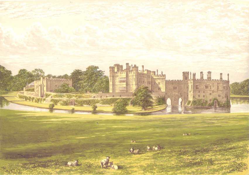 Associate Product LEEDS CASTLE, Maidstone, Kent (Wykeham-Martin) 1890 old antique print picture