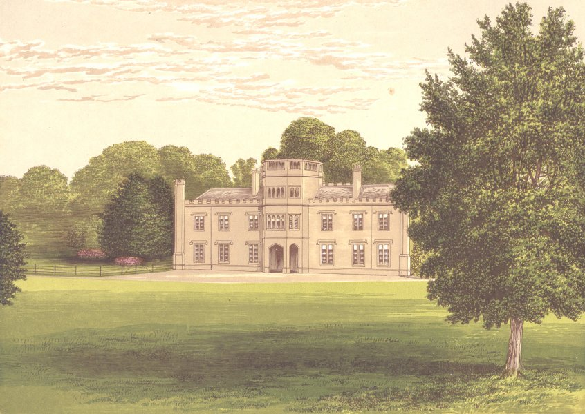WOLSELEY HALL, Rugeley, Staffordshire (Wolseley, Baronet) 1891 old print