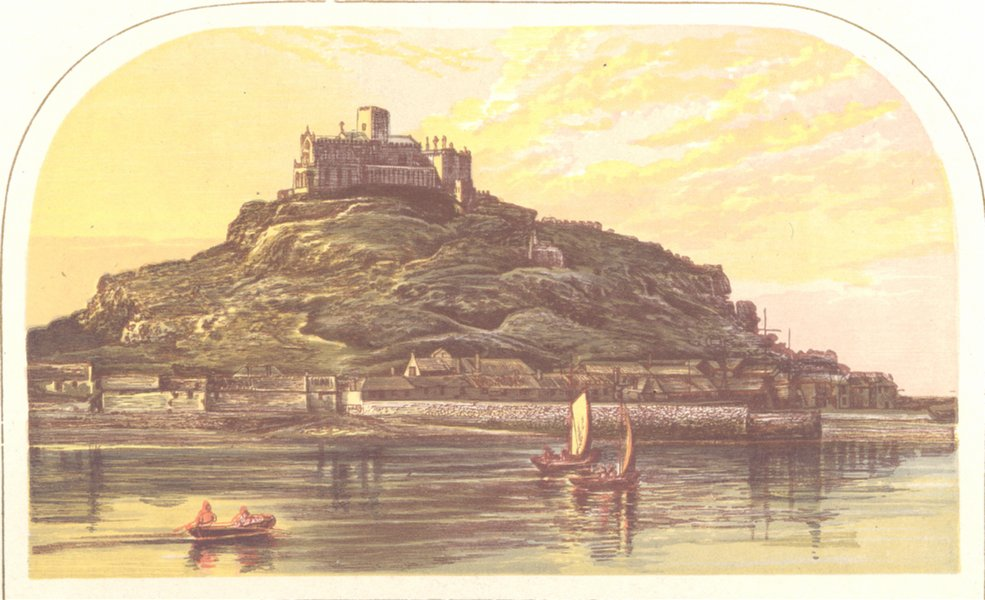 Associate Product St. MICHAEL'S MOUNT , Cornwall (St. Aubyn, Baronet) 1891 old antique print