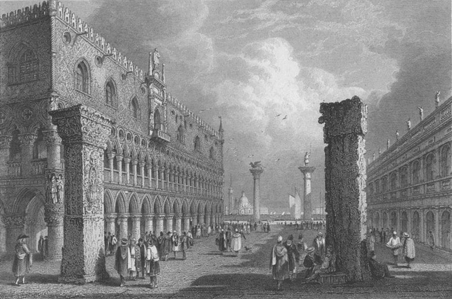 Associate Product ITALY. Piazetta, Venice ; Finden 1833 old antique vintage print picture