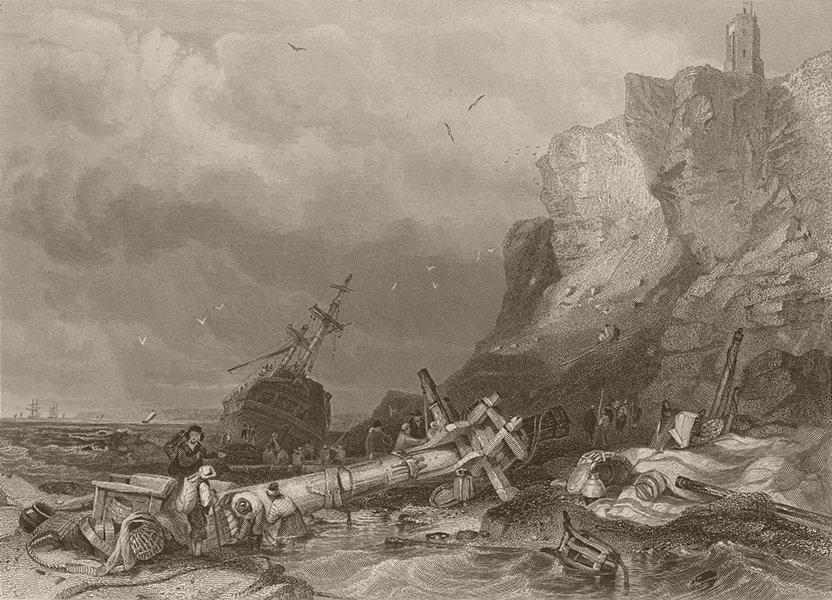 Associate Product Tynemouth Castle. Ship wrecked on the rocks. Northumberland. FINDEN 1842 print