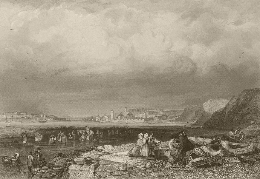 Associate Product Entrance to Shields Harbour. Northumberland. FINDEN 1842 old antique print