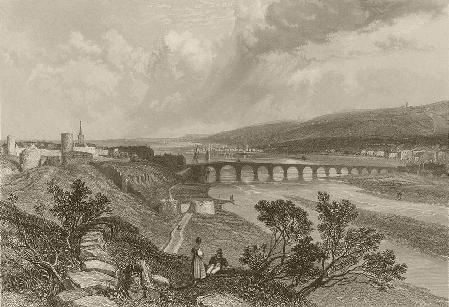 Berwick: the bridge, from the north-west. Northumberland. FINDEN 1842 print