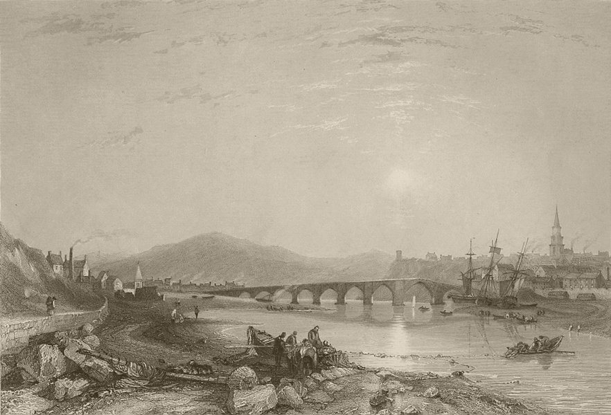 Associate Product Berwick, from the south east. Northumberland. FINDEN 1842 old antique print