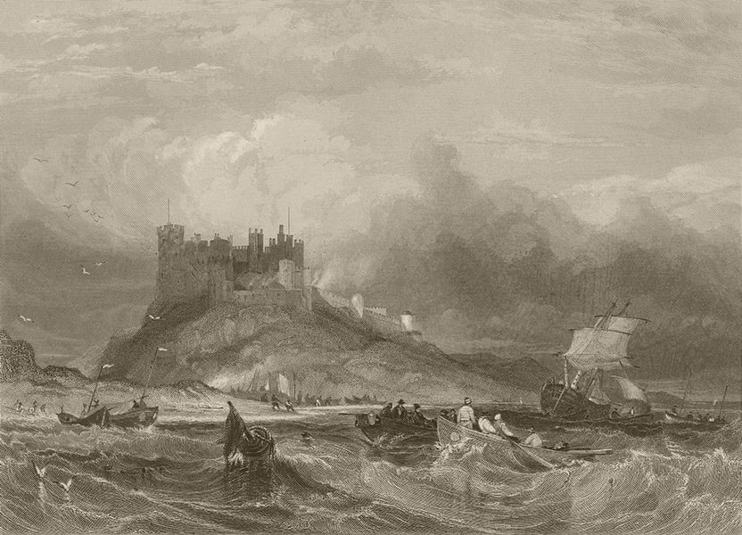 Associate Product Bamburgh, from the south east. Northumberland. FINDEN 1842 old antique print