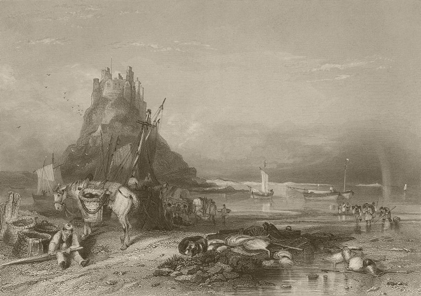 Associate Product Castle of Holy Island from the west. Lindisfarne, Northumberland. FINDEN 1842