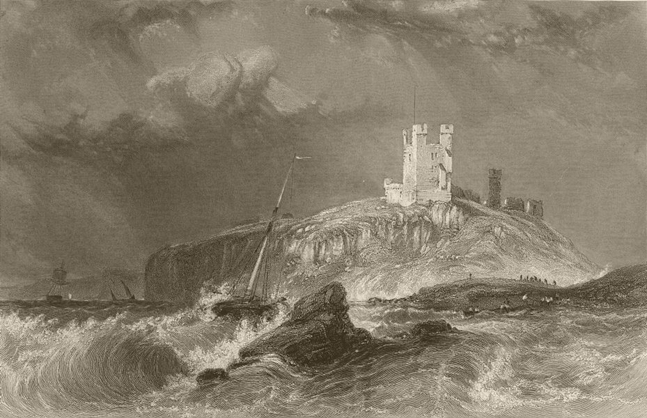 Associate Product Dunstanburgh Castle, from the east. Northumberland. FINDEN 1842 old print