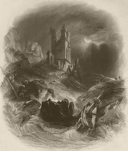 Associate Product Dunstanburgh Castle by moonlight. Northumberland. FINDEN 1842 old print