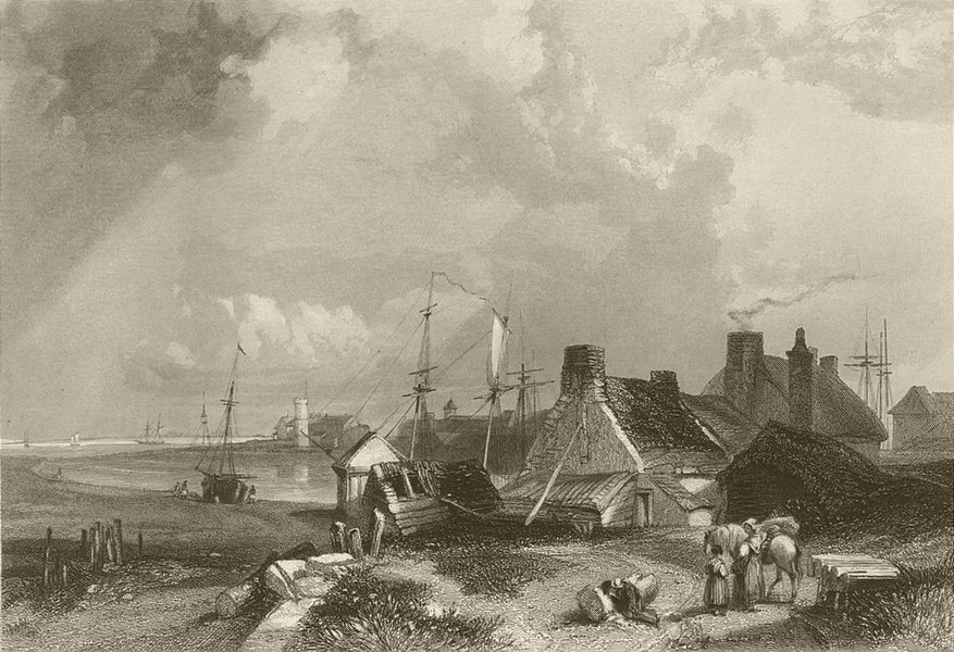 Associate Product Blyth, near the harbour. Northumberland. FINDEN 1842 old antique print picture