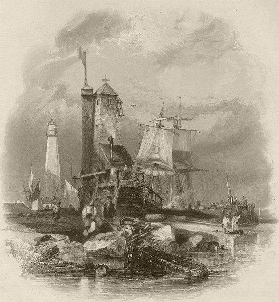 Sunderland, the lighthouse on the South Pier. Durham. FINDEN 1842 old print
