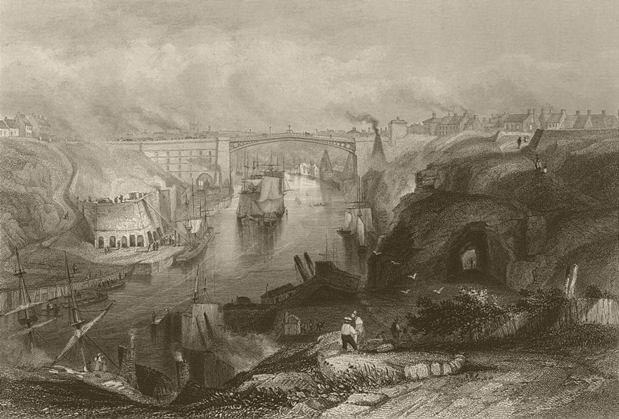 Associate Product Sunderland, the bridge from the west. Durham. FINDEN 1842 old antique print
