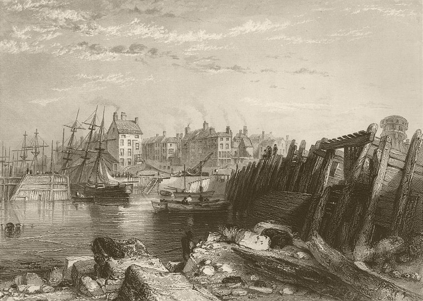 Bridlington Quay. Yorkshire. FINDEN 1842 old antique vintage print picture