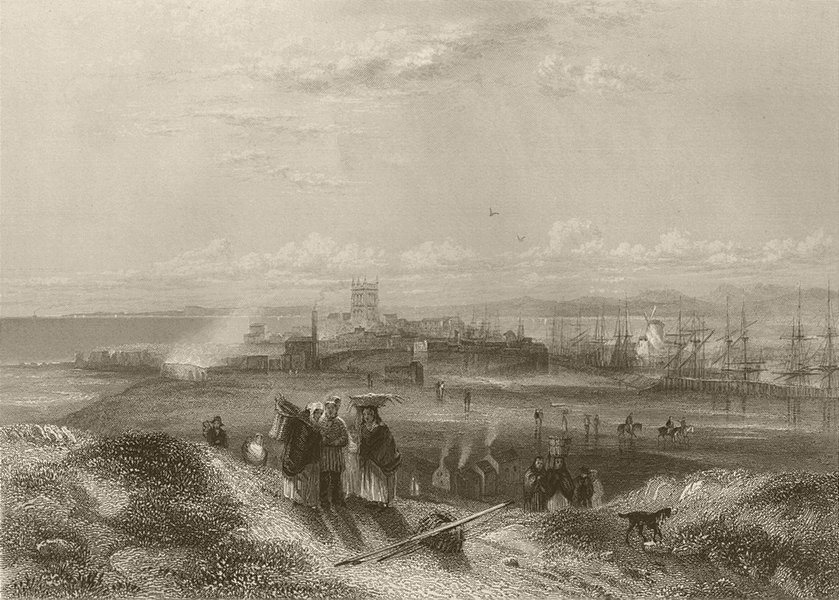 Associate Product View of Hartlepool. Durham. FINDEN 1842 old antique vintage print picture