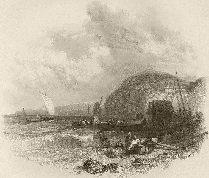 Associate Product View from the beach at Sidmouth, towards the south west. Devon. FINDEN 1842