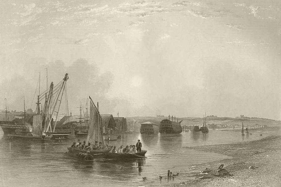 Associate Product Chatham, with the dockyard. Kent. FINDEN 1842 old antique print picture