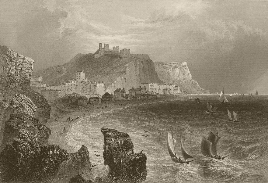 Associate Product Hastings, with the town and castle. Sussex. BARTLETT 1842 old antique print