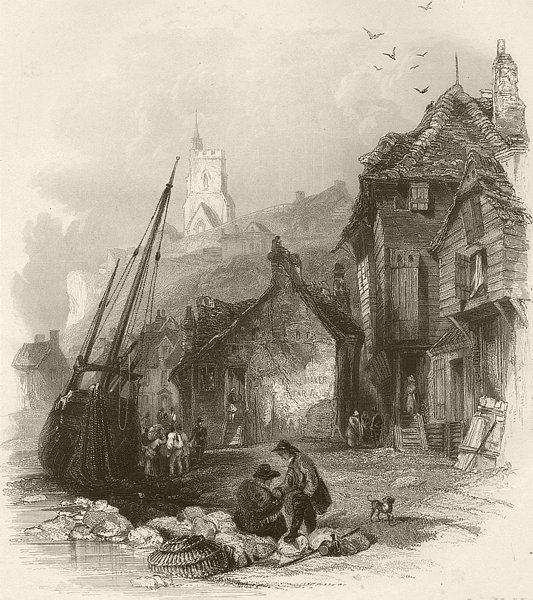 Associate Product Folkestone, Kent. FINDEN 1842 old antique vintage print picture