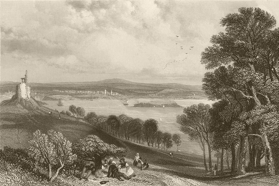 Associate Product Plymouth from across Plymouth Sound, Devon. FINDEN 1842 old antique print