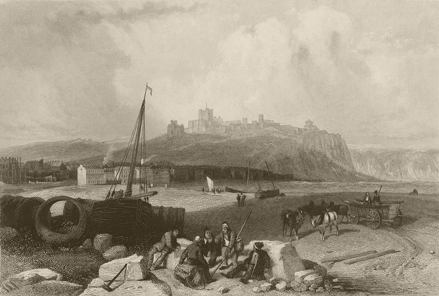 Associate Product Dover, with the castle, Kent. FINDEN 1842 old antique vintage print picture