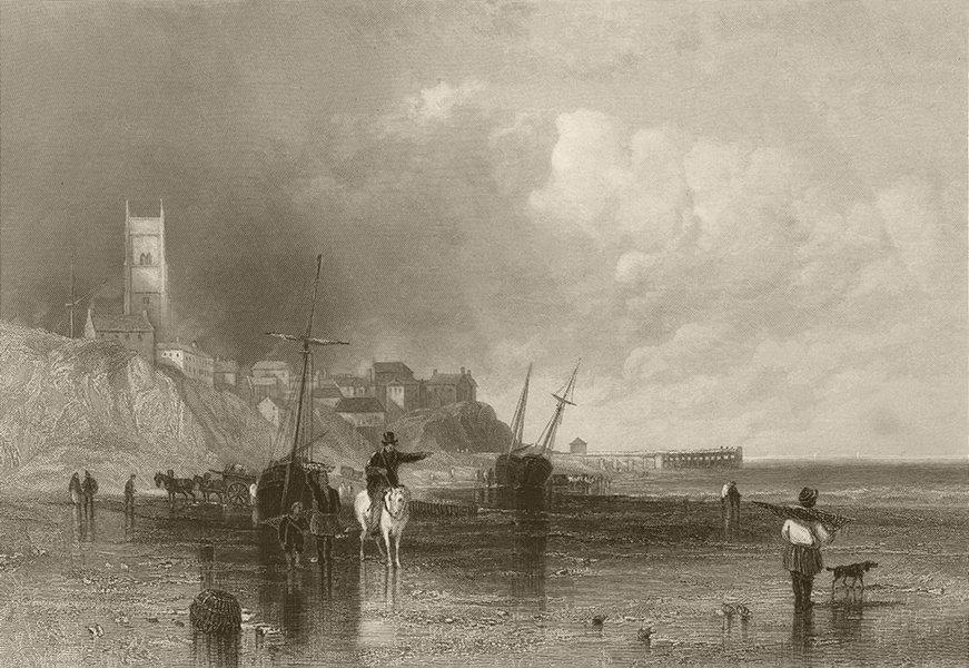 Associate Product Cromer beach, town & church, Norfolk. Fishermen. FINDEN 1842 old antique print