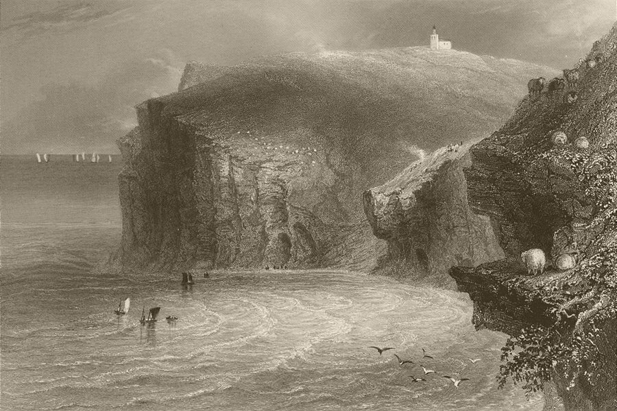 Associate Product St. Bees' Head and lighthouse. Cumbria. BARTLETT 1842 old antique print