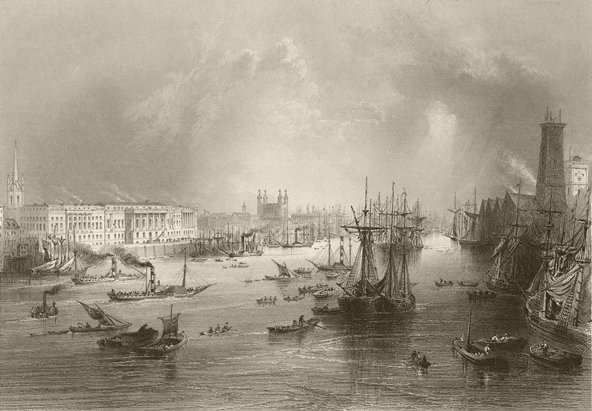 The Port of London. Pool of London. BARTLETT 1842 old antique print picture