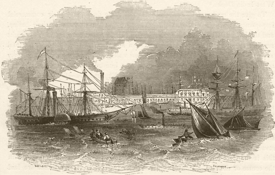 Associate Product Brunswick Wharf, Blackwall. London 1842 old antique vintage print picture