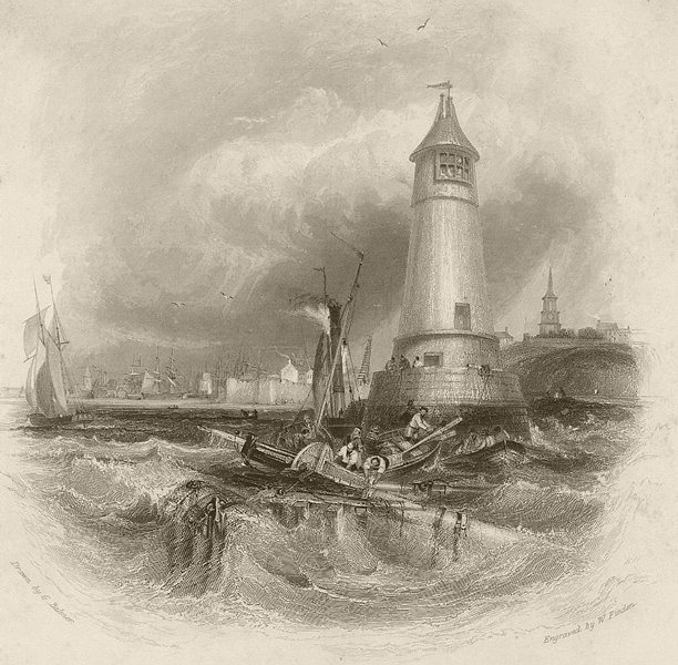 Associate Product Entrance to the port of Berwick-upon-Tweed. Northumberland. FINDEN 1842 print