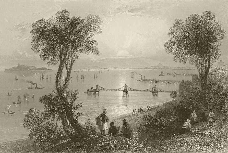 Associate Product Newhaven, with the piers, Edinburgh, Firth of Forth. Scotland. BARTLETT 1842